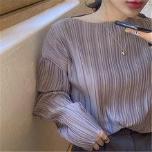 Фиолетовая плиссированная рубашка Женская Осенняя элегантная