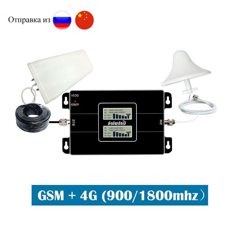 Lintratek GSM 900 1800 2G 4G double bande cellulaire Booster répéteur de Signal 900mhz DCS 1800mhz amplificateur données voix LTE ensemble complet dj