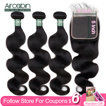 Aircabin Body Wave Bundles With 5x5 Closure Brazilian 100% Remy Human Hair Weave Natural Color Swiss lace Closure With Baby Hair aircabin hair body wave bundles with closure remy human hair extensions brazilian body weave bundles and lace closure