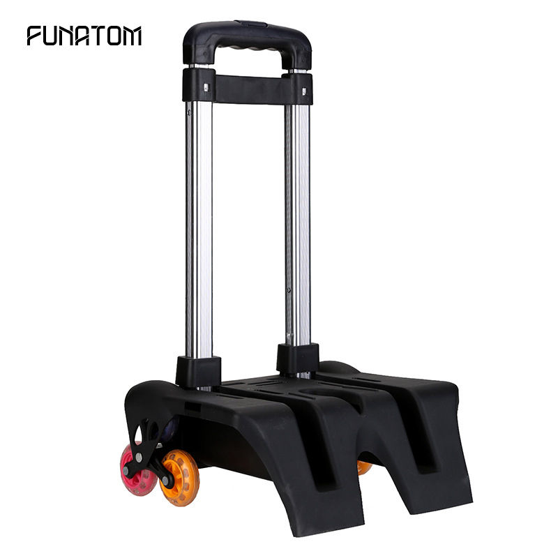 Aluminum Alloy Pull Rod Bracket Roll Cart Kid Trolley For Backpack And School Bag Luggage For Children 6 Wheels Expandable Rod