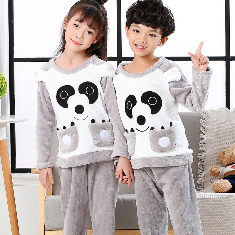Flannel Panda Pajama Kids Girl Winter Toddler Christmas Pajamas Set Boys Warm Thick Sleepwear Suit Infantil Child Pijama Clothes
