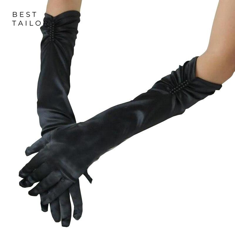 Long Wedding Bridal Hand Gloves Finger Elbow Black White Satin Cuffs Pleats Pearls Wedding Party Accessories Mariage Gant Femme