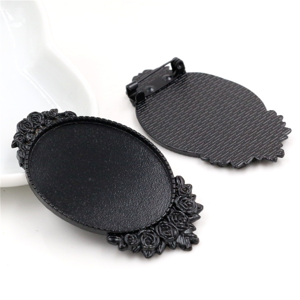 New Fashion 5pcs 30x40mm Inner Size Black Plated Pin Brooch Flower Style Base Setting Pendant (B3-17)
