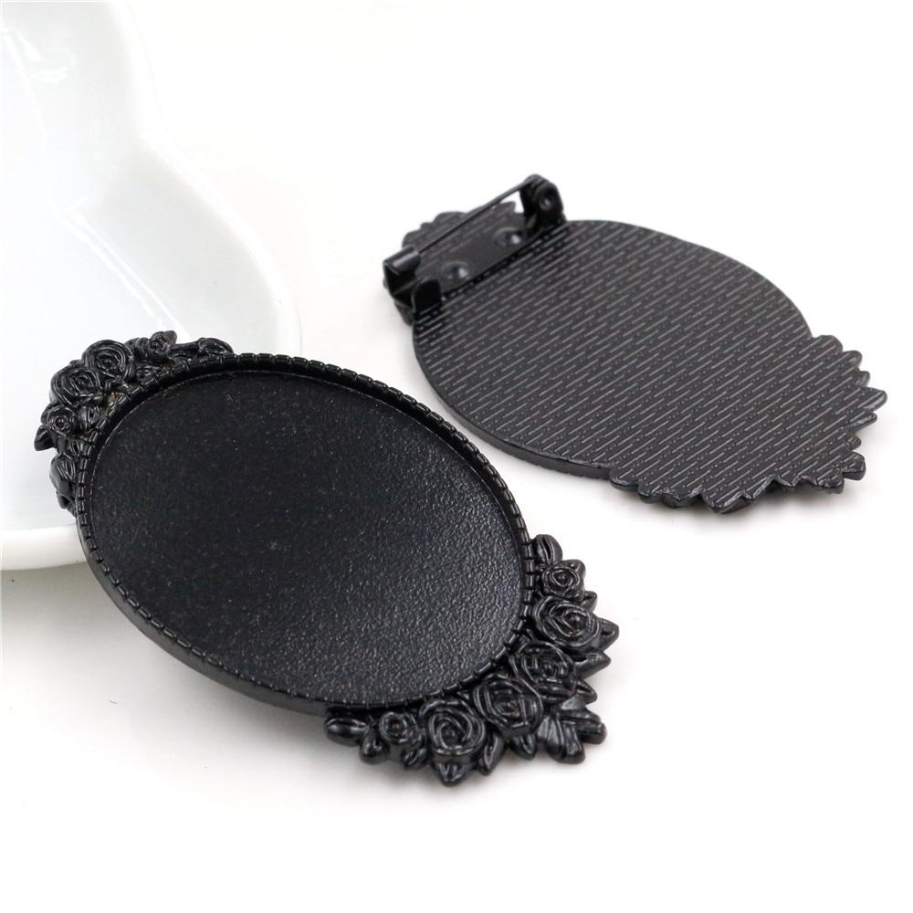 New Fashion 5pcs 30x40mm Inner Size Black Plated Pin Brooch Flower Style Base Setting Pendant (B3-17)