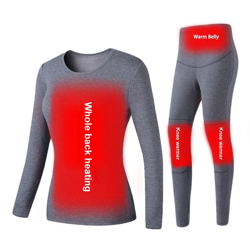 ZYNNEVA Winter USB Heating Snow Underwear Set Warm Women Powered Heated Clothes Skiing Ski Pants Female Bodywarmer GC4203