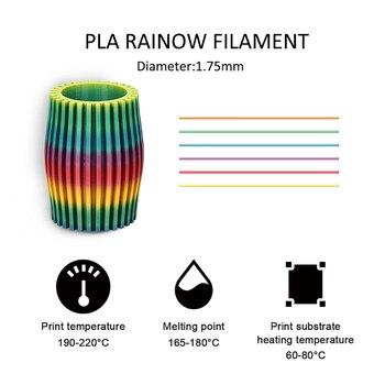 SUNLU Regenbogen PLA Filament 1,75 MM 1KG Bunte PLA Filament Dimension Genauigkeit +/-0,02mm Neue Ankunft 3D Drucker Material