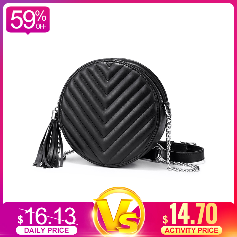 Realer Women Shoulder Bag Small Round Bag Funny Female Messenger Crossbody Bags For Women 2019 PU Leather Retro Chain Black