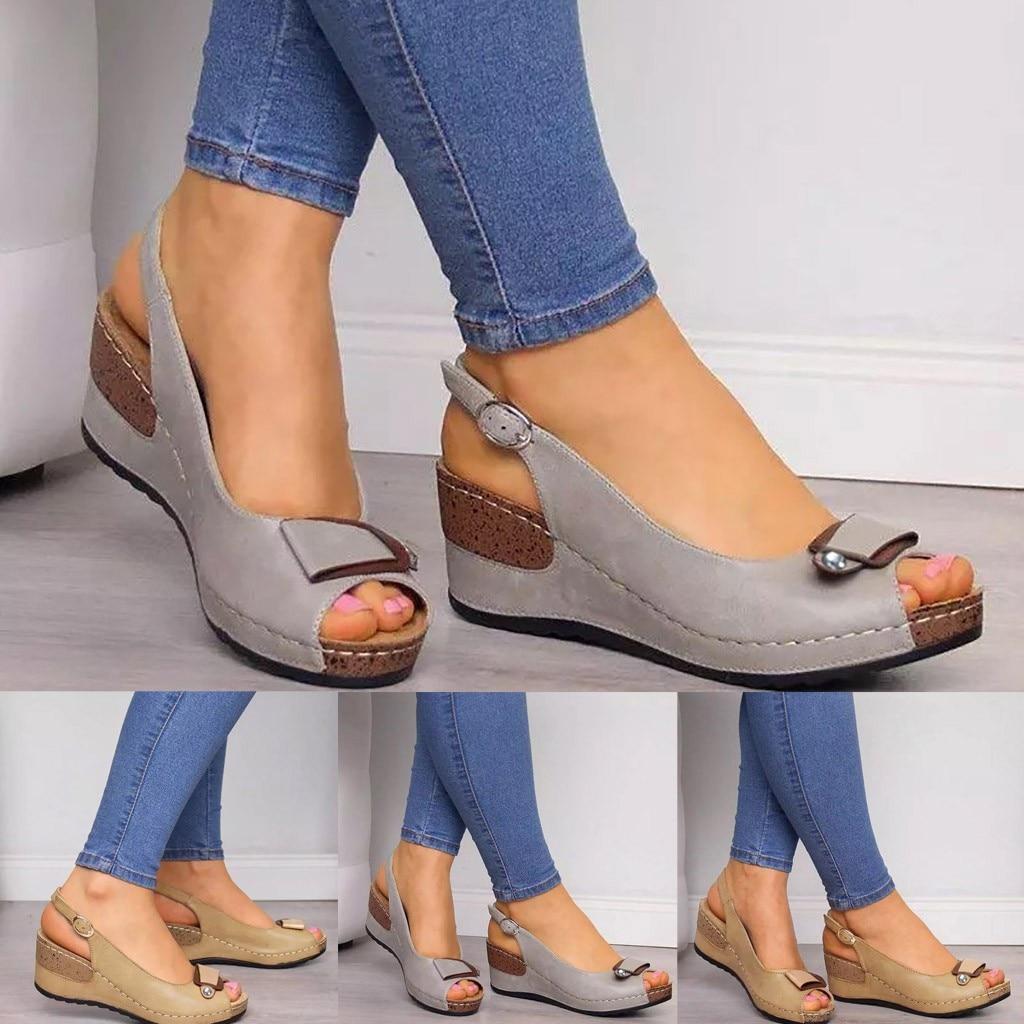 Roma sandálias casuais mulheres cunhas sandálias bombas tornozelo fivela dedo do pé aberto boca de peixe med verão sapatos femininos moda 2020 cunhas sapatos