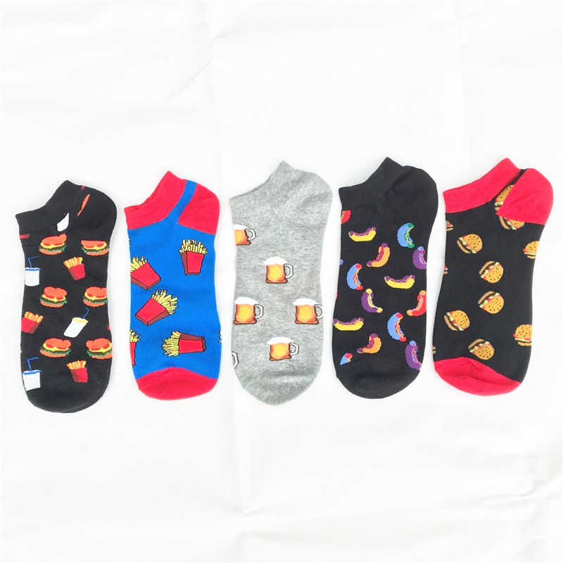 Creative Funny Men's Socks Invisible Low Cut Ankle Sock Summer Food Sausage Hamburger Casual Breathable Cotton Short Socks