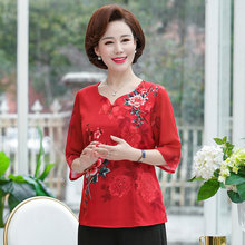 Chinese Style Women Summer Chiffon Blouses Red White Khaki Flower Printing Thin Fake Silk Tops Female Oriental Blouse Plus Size chiffon blouse sexy shirt women tops and blouses ruffles summer autumn shirt casual female chiffon blouse clothing plus size