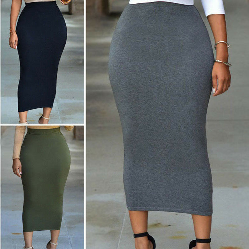 Muslim Thick Skirt Bodycon Slim High Waist Stretch Long Maxi Womens Pencil Skirt