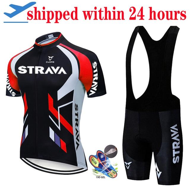 2020 nova strava verão conjunto camisa de ciclismo respirável equipe corrida esporte bicicleta jérsei dos homens roupas ciclismo curto camisa 1
