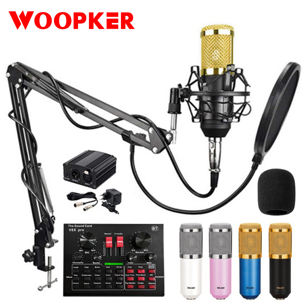 Bm 800 Karaoke Condenser Microphone Mic For Pc Studio Microphone Braodcasting Singing Recording Karaoke Kit With V8X Sound Card