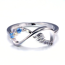 Huitan Fashion Letter Mom Gift Ring For Mother Classic Silver Plated Birthday Present Ring With White&Bule Zircon Stone New