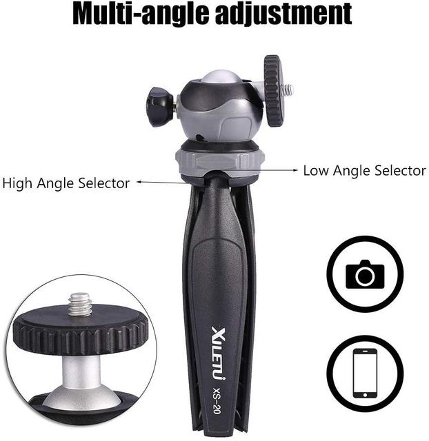 XILETU XS-20 Mini Desktop little Phone Stand Tabletop Tripod for Vlog Mirrorless Camera Smart phone with Detachable Ball head 2