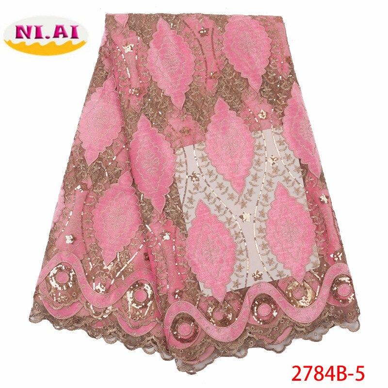 NIAI tela de encaje de terciopelo nigeriano 2019 tela de encaje africano de alta calidad con tela de encaje francés de lentejuelas para vestido XY2784B 1-in encaje from Hogar y Mascotas    2