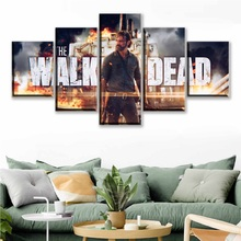 Canvas Print Painting Wall Art 5 Piece The Walking Dead Season 8 Rick Movie Poster Living Room Picture Modular Home Decor Frames