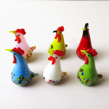 6pcs Colorful Glass Rooster Turkey Animal Figurines Cock Chicken Miniature Hand Blown Modern Miniatures Home Decor Xmas Gift