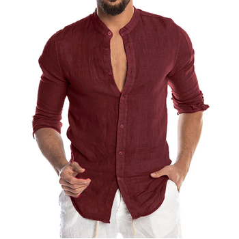 Men's New Summer Casual Cotton Linen Long Sleeve Button Down Shirt For Man Casual Shirts Cotton Shirts Dress Shirts Long Sleeve Men Print Shirts Shirts & Tops Slim Fit Summer Shirts T-Shirts Color: Red Size: European Size M