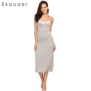 Image 3 - Ekouaer Sexy Lingerie Night Dress Sleepwear Women Sleeveless Lace Trim Spaghetti Strap Nightie Nightgown Female Sleep Nightdress