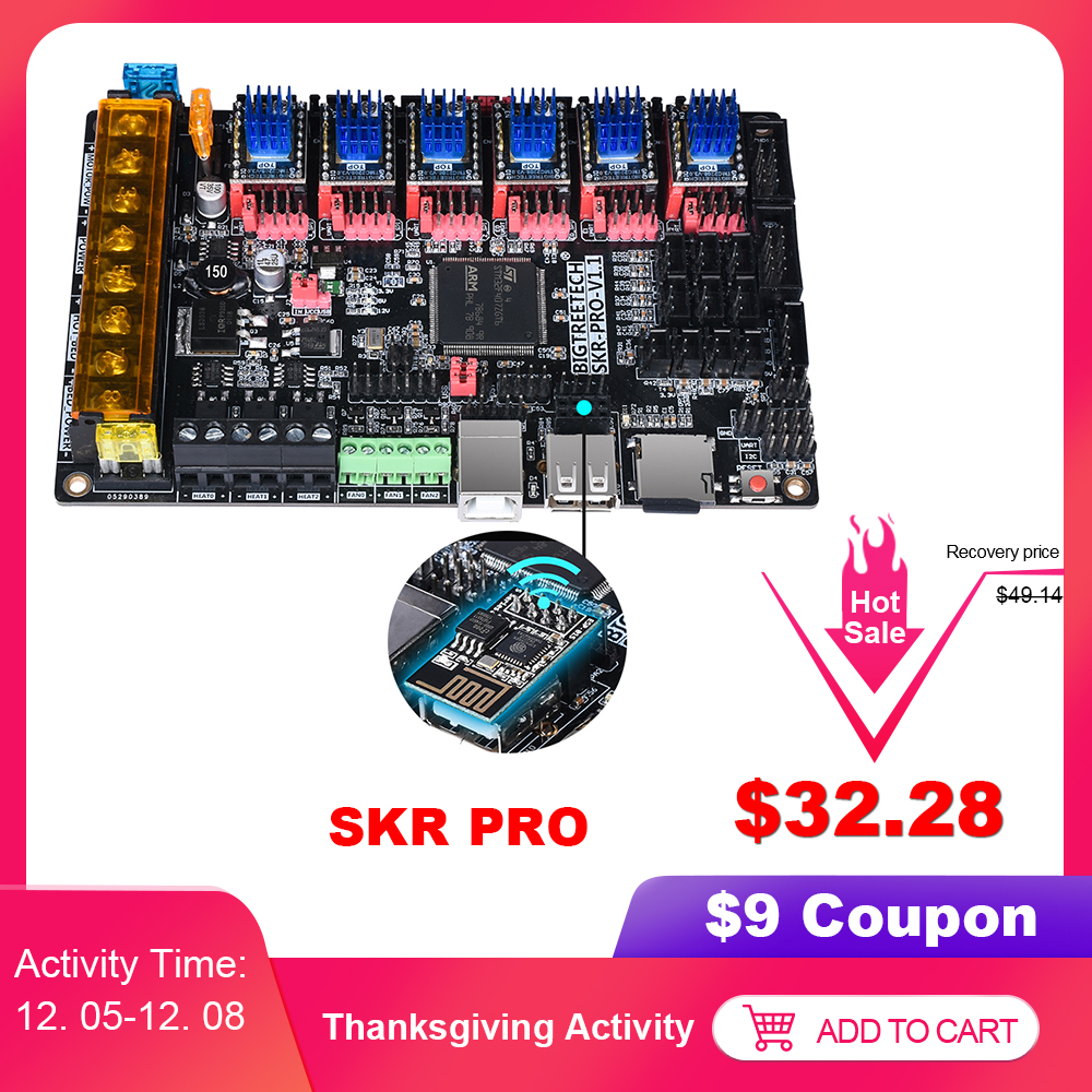 BIGTREETECH SKR PRO V1.1 Controller Board 32 Bit+Wifi Adapter Module 3D Printer Parts Vs MKS GEN L TMC2208 TMC2130 TMC2209