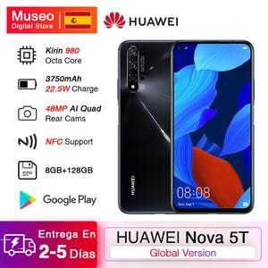 Глобальная версия Huawei Nova 5 T 5 T 8GB 128GB смартфон 48MP камеры 32MP фронтальная камера 6,26 ''экран Kirin 980 Android 9