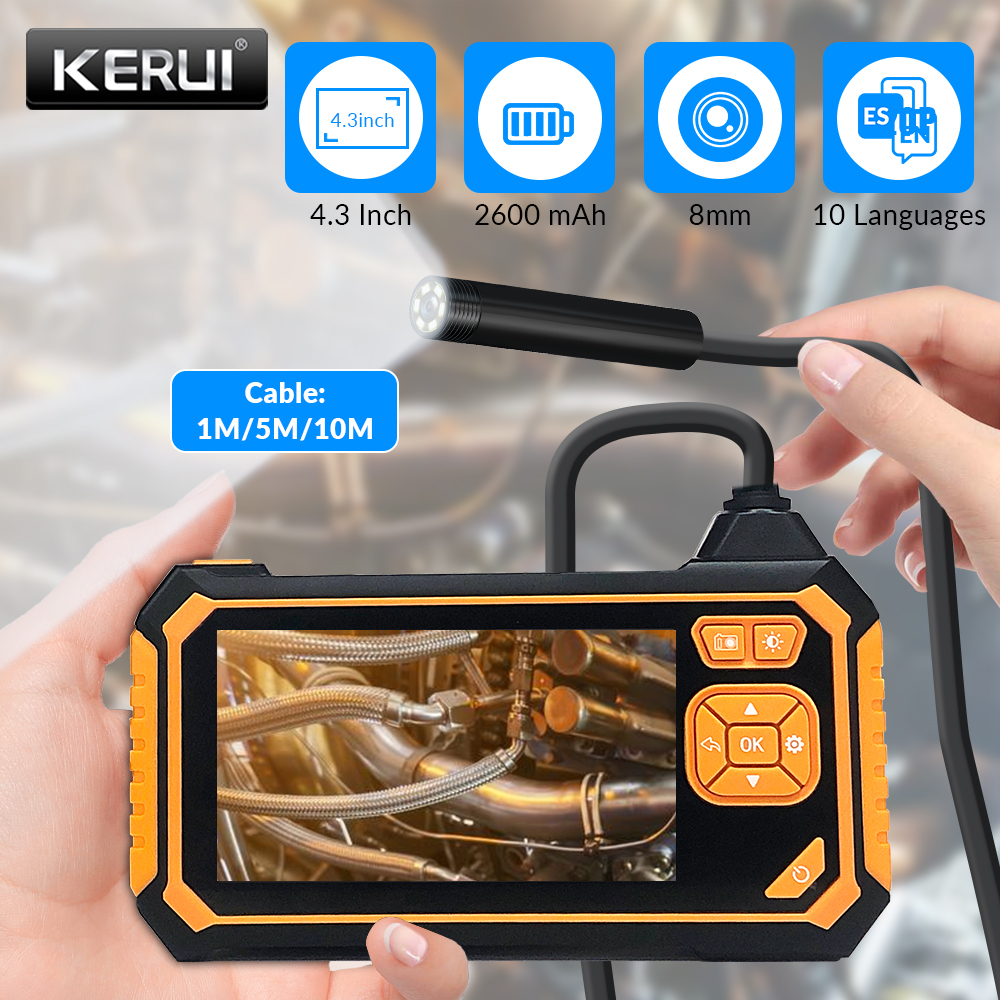 KERUI 8 mm Endoscope Camera 720P 4.3 Inch Screen Inspection Camera with Monitor Handheld IP67 Snake Camera with 6 LED Borescope