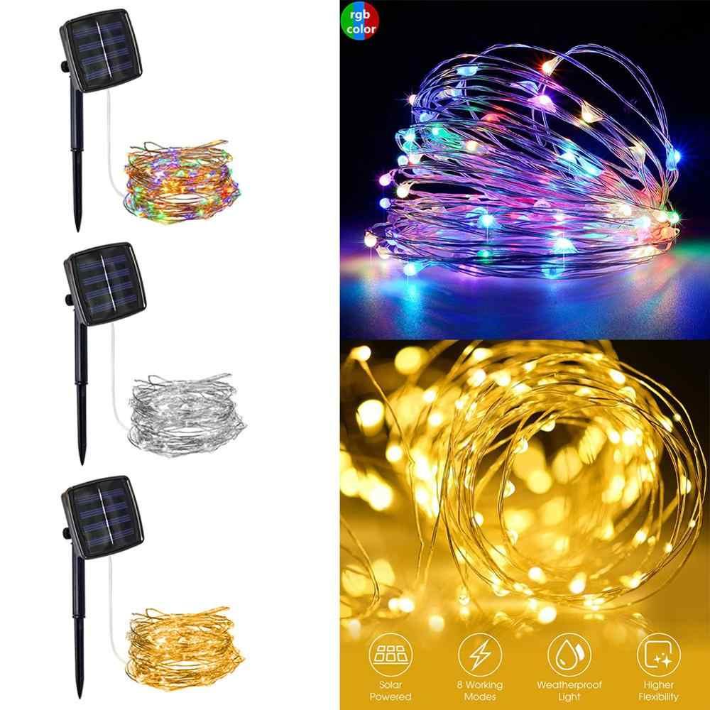 100 200 Solar Led Kawat Tembaga String Lampu Led Strip Fairy Garland Outdoor Lampu Hias Taman Pernikahan Natal Dekorasi Lampu Surya Aliexpress