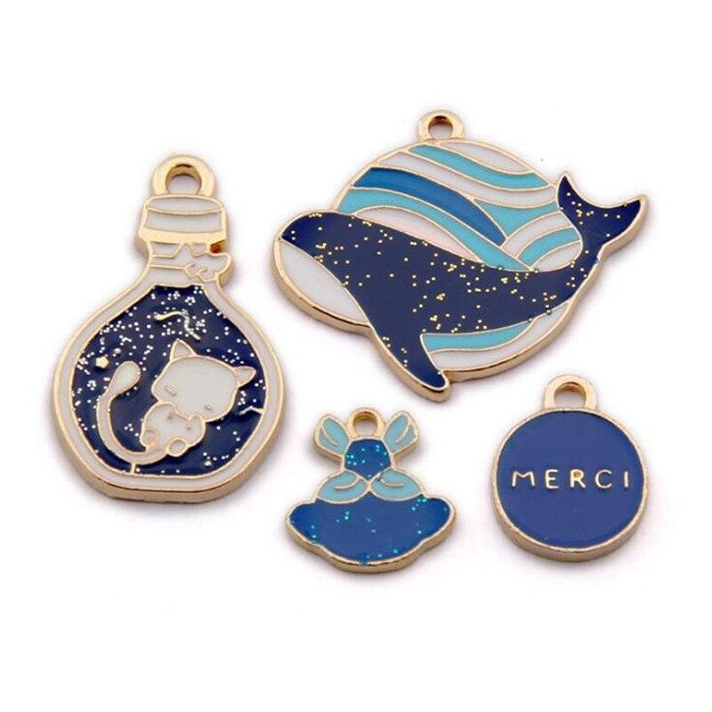 5PCS Enamel Charms Whale Pendant For Earrings Alloy Necklace Pendants Earrings DIY Bracelet Jewelry Making Accessory Cat Angel