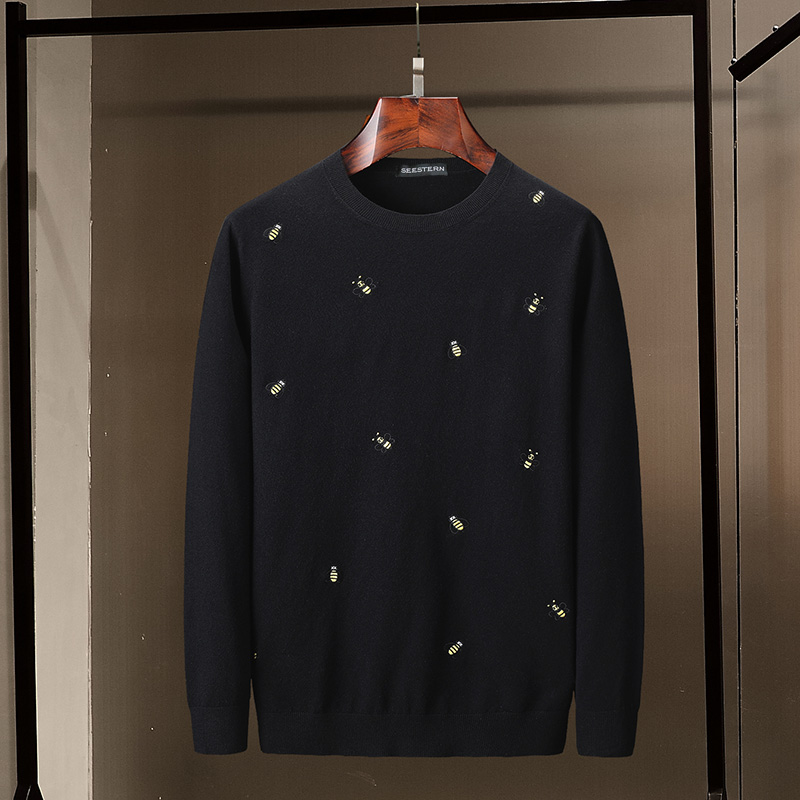 Seestern Brand New Men's Sweater Embroidery Bee Fashion Black Sweater Leisure O-neck Long Sleeve Youth Autumn Winter Pullover