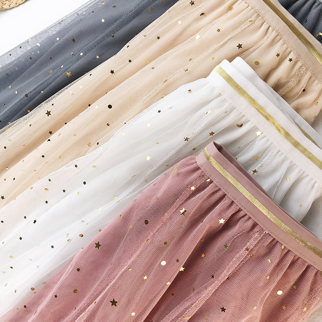 Summer, Mesh Tulle Skirt With Elastic High Waist