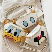 Nueva Disney bolso Mickey Minnie Mouse bolso de la cintura del pecho paquete Pato Donald impermeable bolso de animé lindo mochila para el regalo de los niños Juguetes