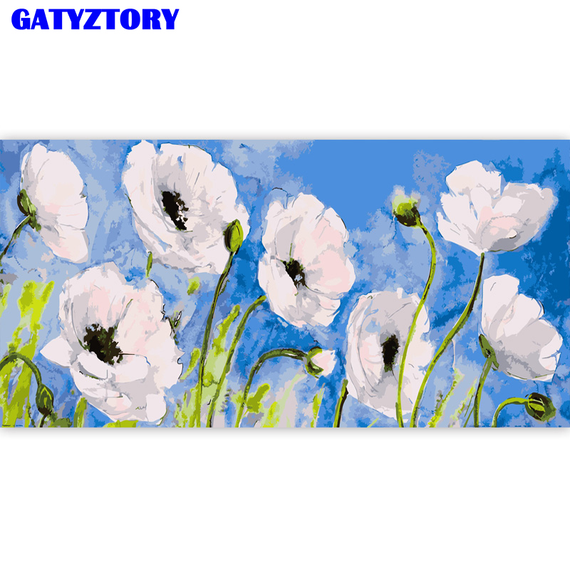 GATYZTORY Frame Landscape Flower DIY Digital Painting By Numbers Hand Painted Kits Acrylic Modern Wall Art For Home Decor