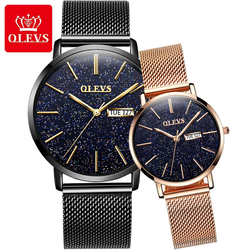OLEVS Waterproof Couple Watch Luxury Casual Ultra-thin Mesh / Leather Strap Men And Women Lover Watches
