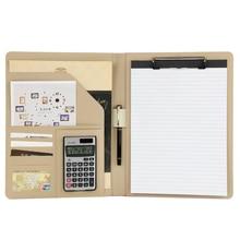 купить A4 PU Leather Folder Padfolio job executive Multi-function Office Organizer Planner Notebook School Office Folder for Documents дешево