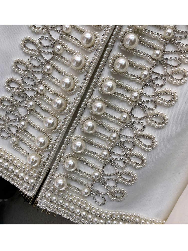 Gratis Verzending Kleine Geur Zware Ambacht Kralen Diamond Stand Kraag Mode Jas Lente Persoonlijkheid Temperament Tops