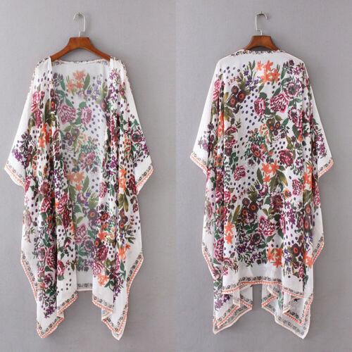 Women Loose Floral Print Blouse Summer Casual Boho Chiffon Coat Shawl Kimono Cardigan Tops Plus Size 3XL 5