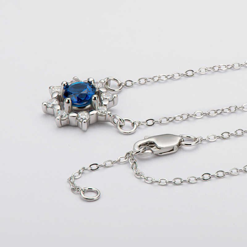 """1/"""" environ 40.64 cm Fleur avec Saphir Bleu CZ Collier Argent Sterling 925 Bijoux 16 in"""