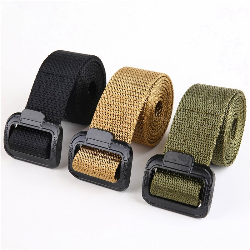 TJ-TingJun  Men's Belt Tactical Military Canvas Belt Outdoor Army Camouflage Waistband with Plastic Buckle Military Training