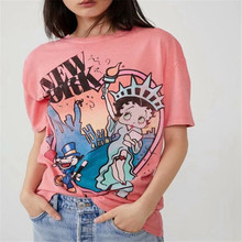 Statue of Liberty Betty Boop Tshirt Cartoon Letter Chic Tops Women T shirt Femal