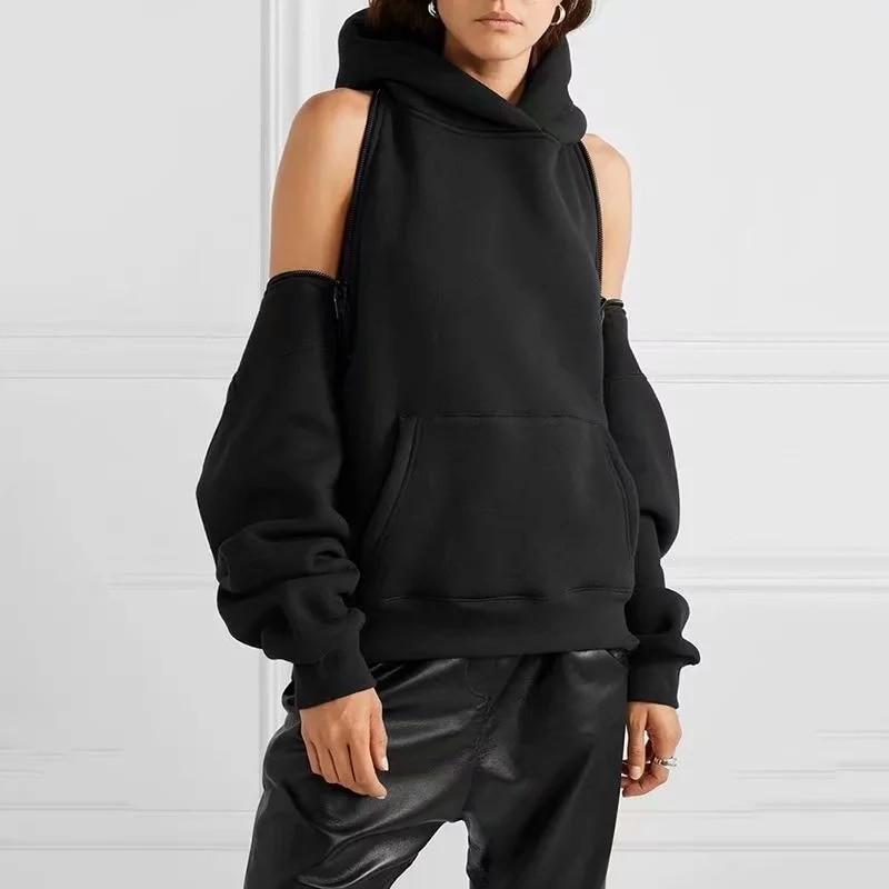 Women Hoodies Sweatshirt Oversize Loose Reversible Off Shoulder Fleece Hoodie Sweat Pullover Tracksuit High Street