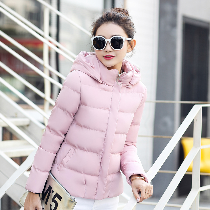Solid Winter Hooded Down Coats Women Casual Warm Zipper Autumn Parka Coat Female Fashion Slim Plus Size Windproof Cotton Jackets