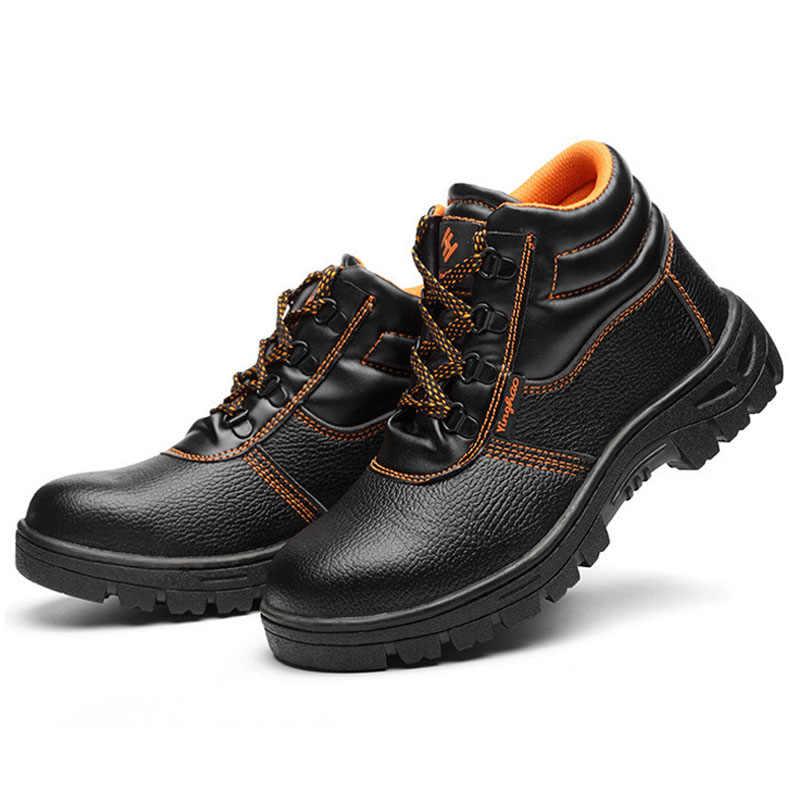 ใหม่รองเท้าผู้ชายรองเท้าทำงานรองเท้า Anti-Smashing เจาะฤดูหนาวทำลายรองเท้ารองเท้าเหล็กความปลอดภัยรองเท้า