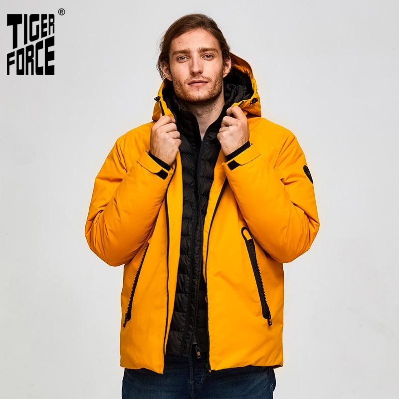 Tiger Force Oversize Men Winter Jacket Ski Sport Jacket For Men Waterproof Snow Jacket Fake Two Hooded Jacket Male Thicken Coat