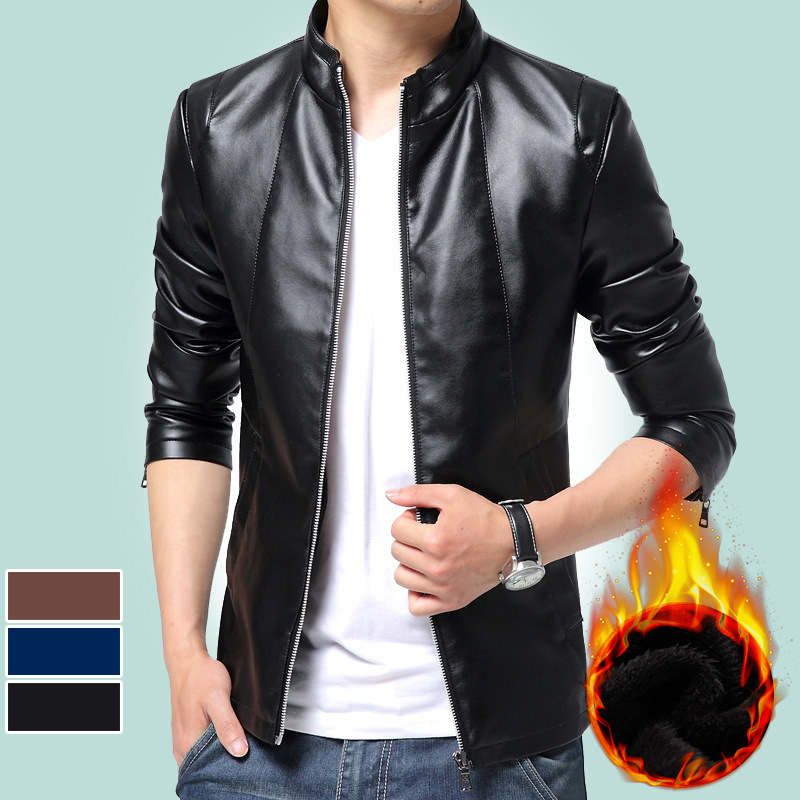 Autumn And Winter New Style MEN'S Jacket Brushed And Thick Warm Leather Coat Slim Fit PU Leather Jacket Youth Coat Tops 6810
