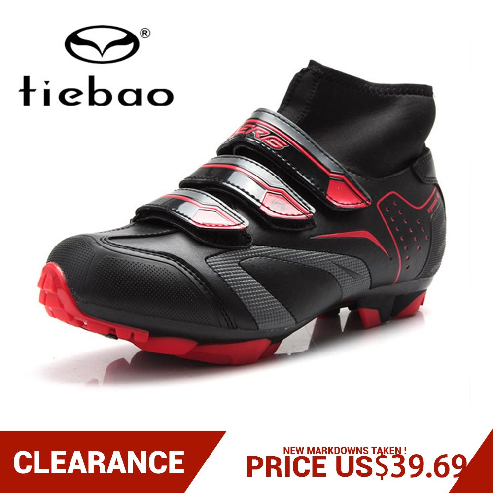 Clearance! TIEBAO Men Women MTB Bicycle Shoes Mountain Cycling Shoes Self-Locking High Ankle Boots Triathlon Bike Shoes EU38-47
