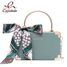 Fashion Metal Handle Box Design Women Party Clutch Bag Shoulder Chain Purse Handbags Female Scarf Tote Bag Crossbody Mini Bag