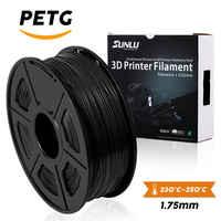 Filamento PETG SUNLU 1,75 MM filamento de impresora PETG 3D de Color negro 1KG con bobina de lampara consumible