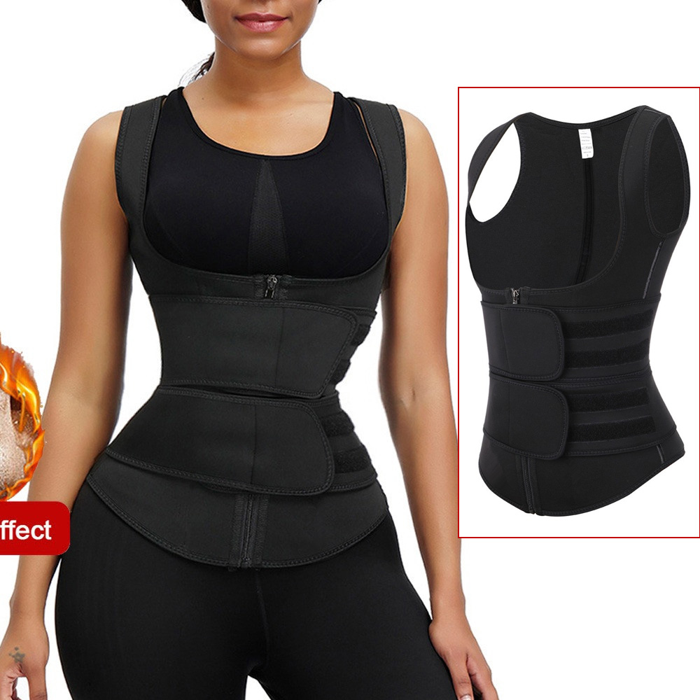 Neoprene Sauna Suit Tank Top Zip Vest With Adjustable Waist Trimmer Belt  Slimming Workout Weight Loss Exercise Trainer Suit