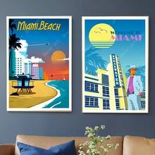 Vintage Florida Miami Beach America viajes lienzo pinturas pared Vintage Kraft carteles recubiertos pegatinas de pared cuadros de decoración del hogar